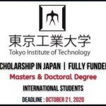 Tokyo Institute of Technology Scholarship 2021