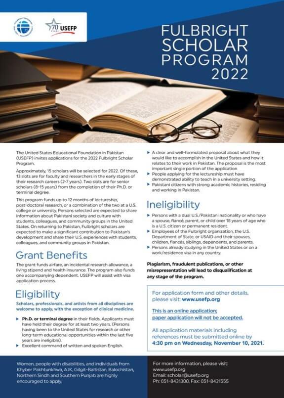 US Fulbright Scholarship 2022 Advertisement: